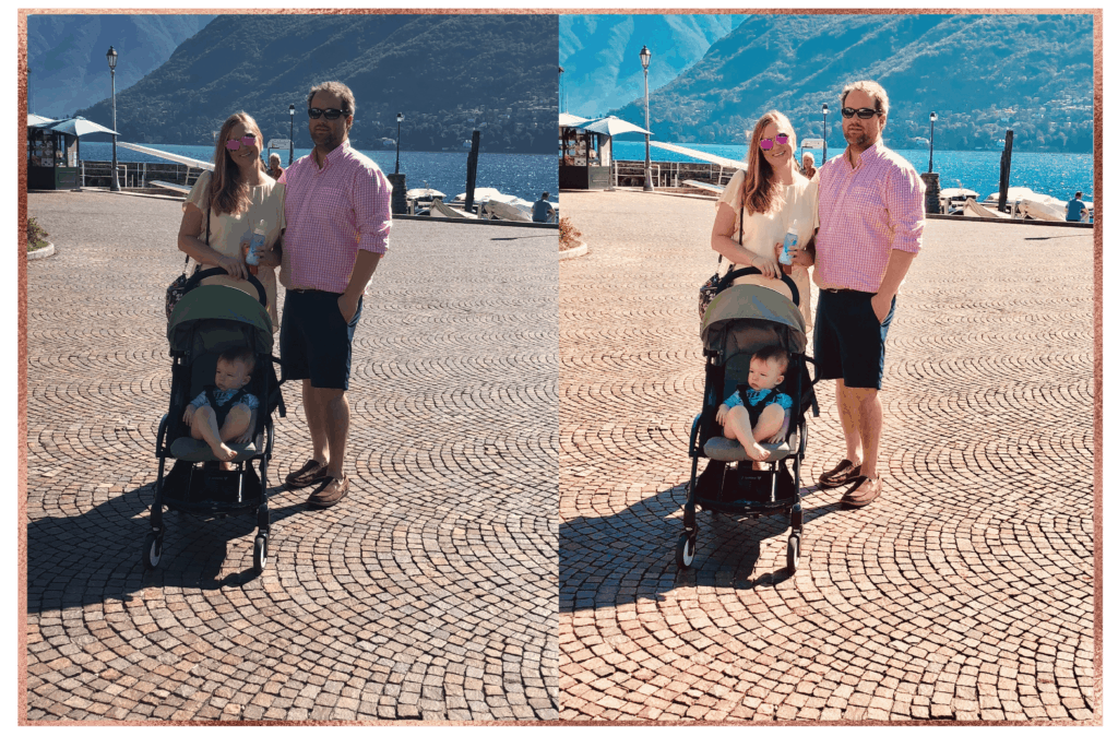 Family poses for photo with baby in stroller on Lake Como