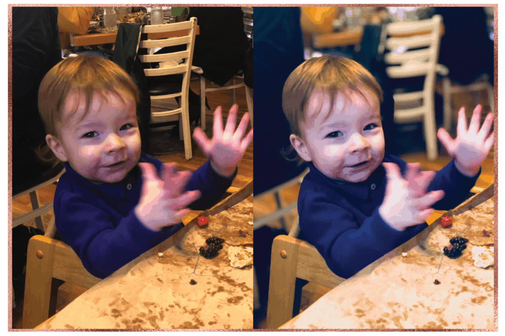 Cute baby with dirty hands and face clapping