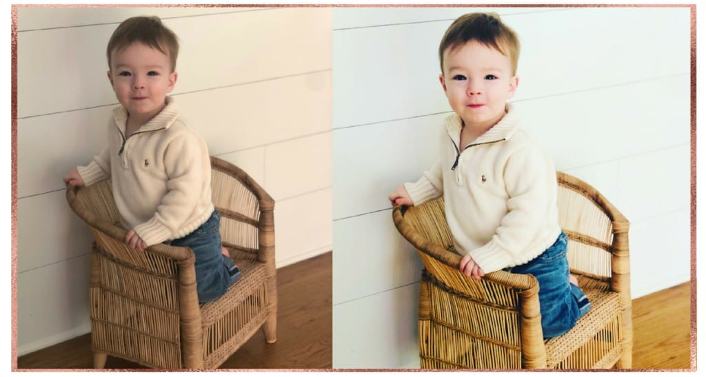Toddler sitting on woven chair