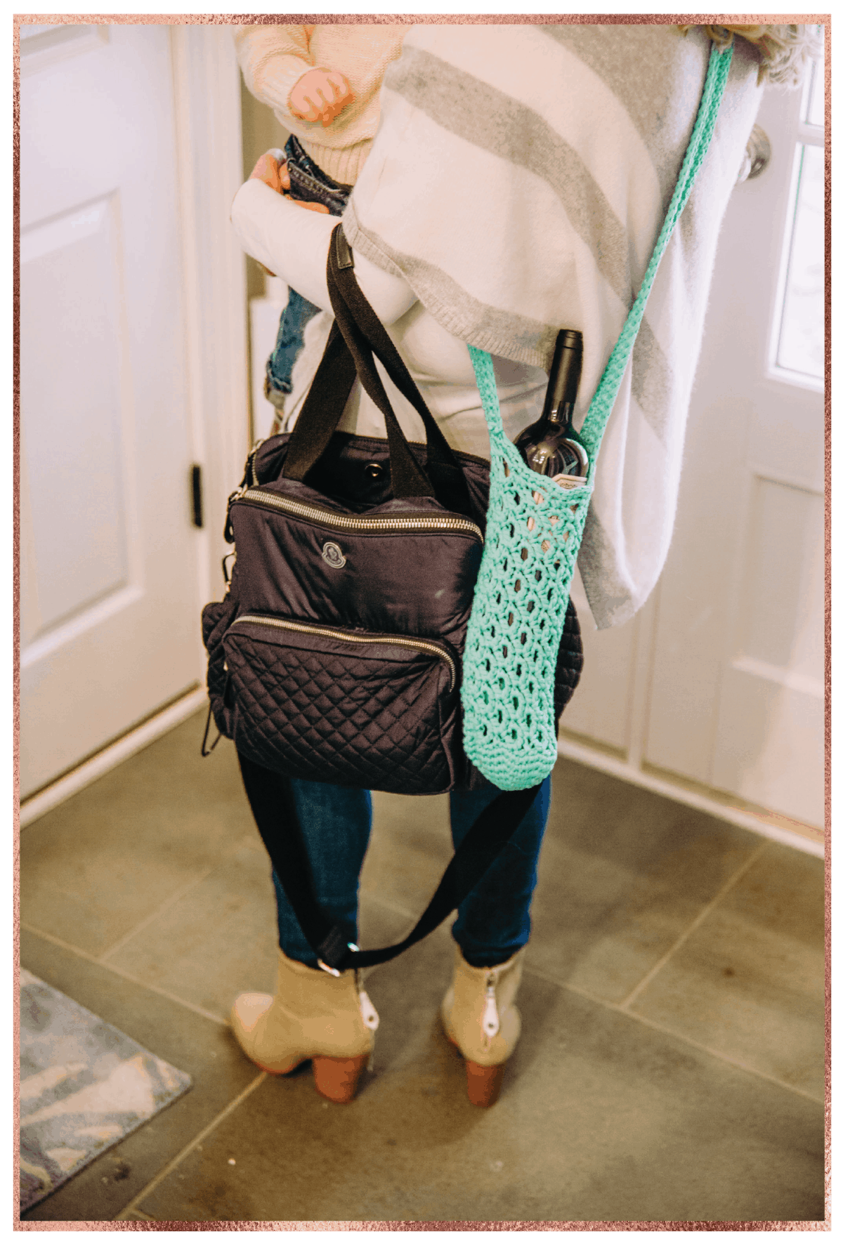 Diaper bag and wine