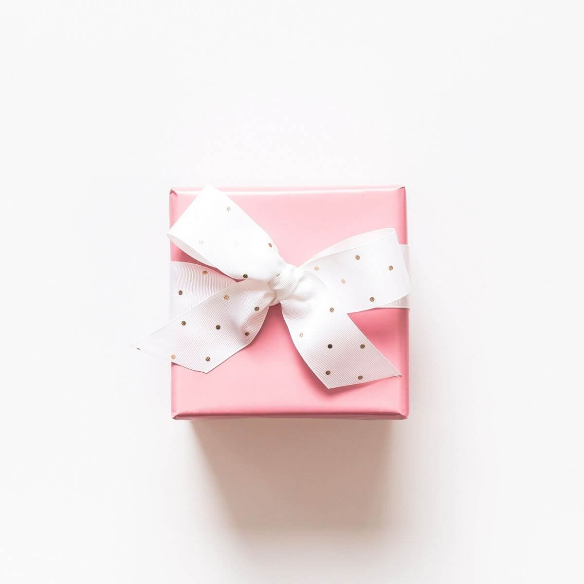 Pink Gift Box on White Background