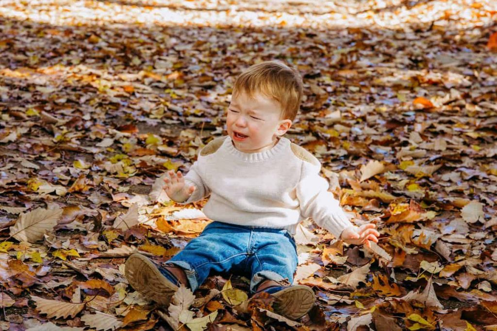 screaming-crying-toddler-in-fall-leaves