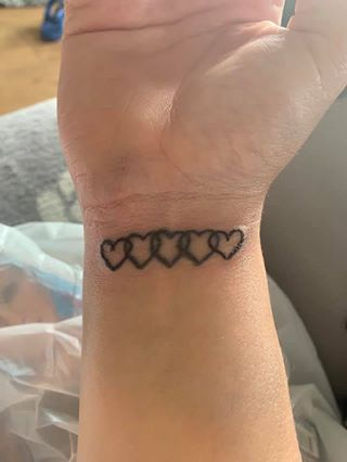 A miscarriage memorial heart wrist tattoo