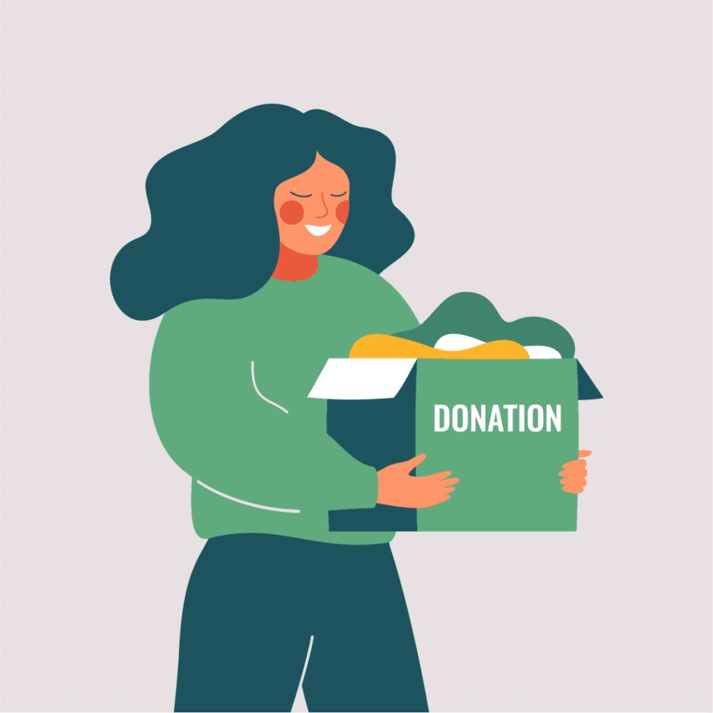 graphic-of-woman-holding-box-that-says-donation