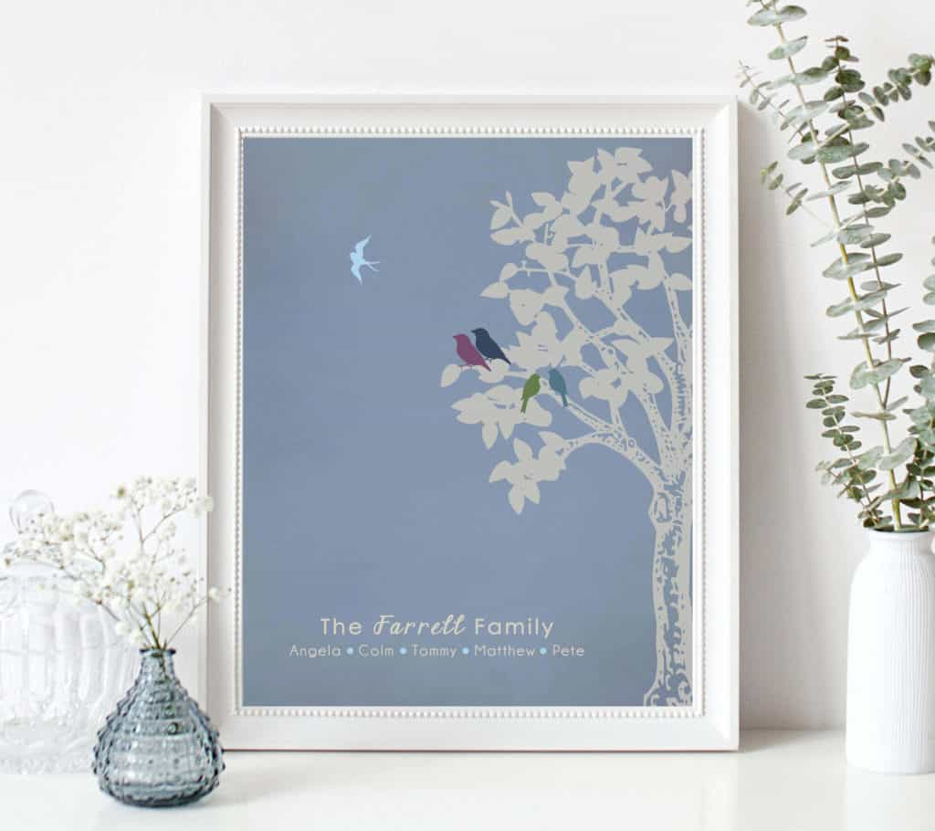 framed-graphic-with-tree-and-bird-flying-away-from-tree-to-represent-lost-family-member-with-family-name-and-each-members-names-at-bottom