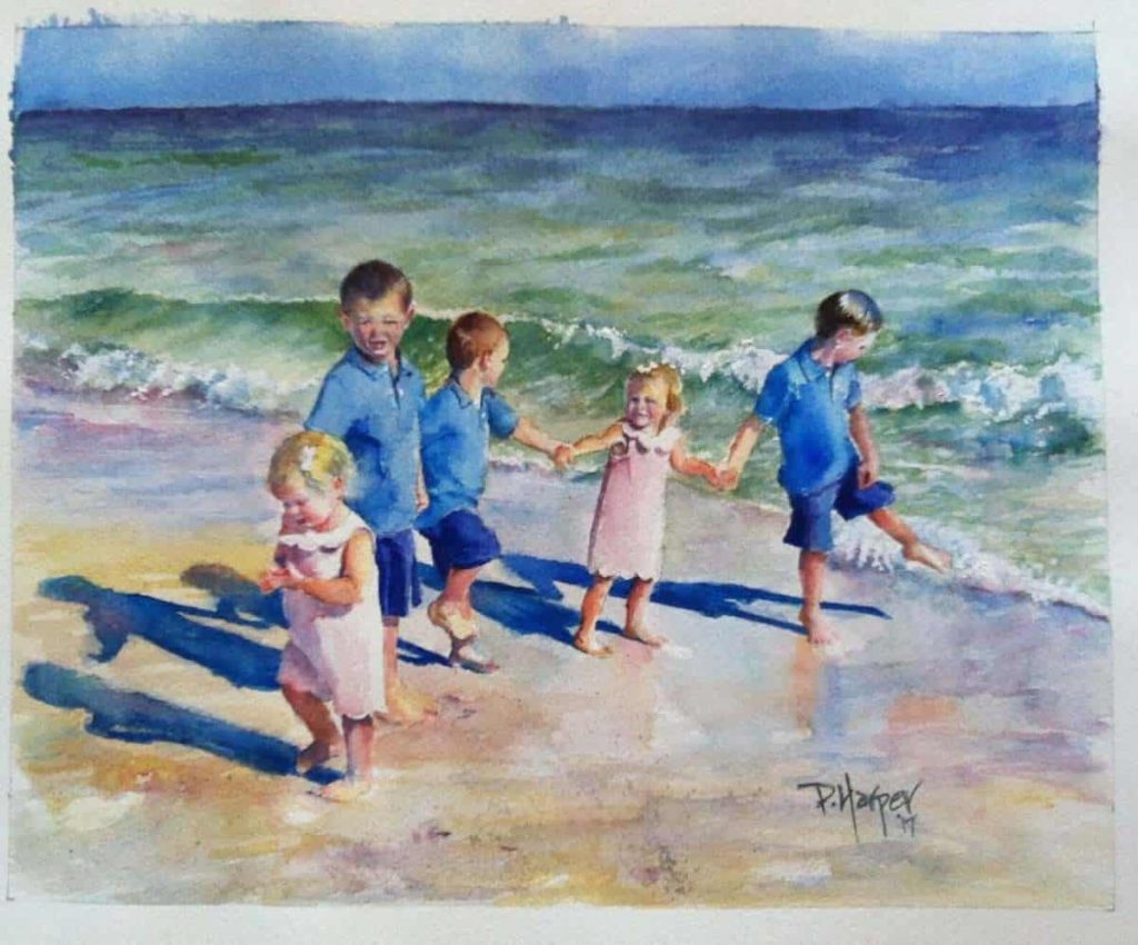 portrait-of-4-children-on-beach-painted-from-photo