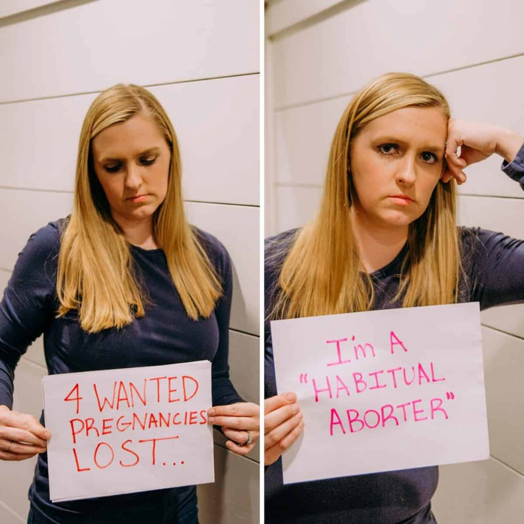 side-by-side-images-of-woman-holding-2-cards-one-announcing-4-miscarriages-the-other-saying-she-is-called-a-habitual-aborter