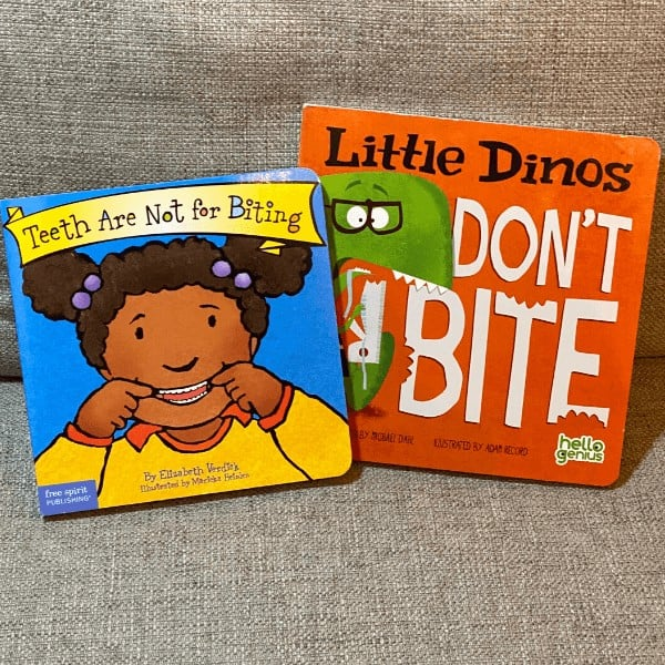Kids books about biting, These Teeth are Not for Biting and Little Dinos Don't Bite, sitting side by side