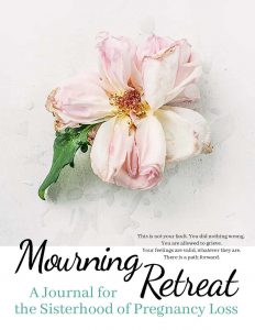 mourning-retreat-miscarriage-journal-for-pregnancy-loss-cover-page-includes-title-with-photo-of-soft-pink-flower-on-a-light-background-and-subtitle-text-that-says-a-journal-for-the-sisterhood-of-pregnancy-loss