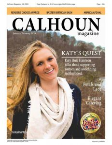 cover of the january 2019 issue of calhoun magazine with katy huie harrison, phd, owner of undefining motherhood, on the cover