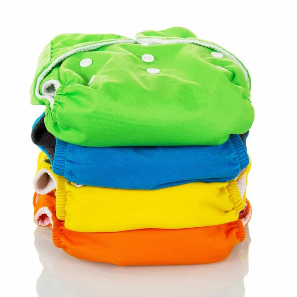 colorful cloth diapers stacked on top of each other