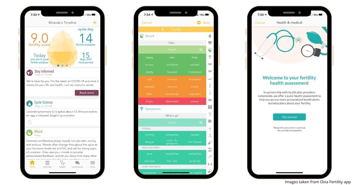 3 smartphone images showing the user experience for the Ovia Fertility app