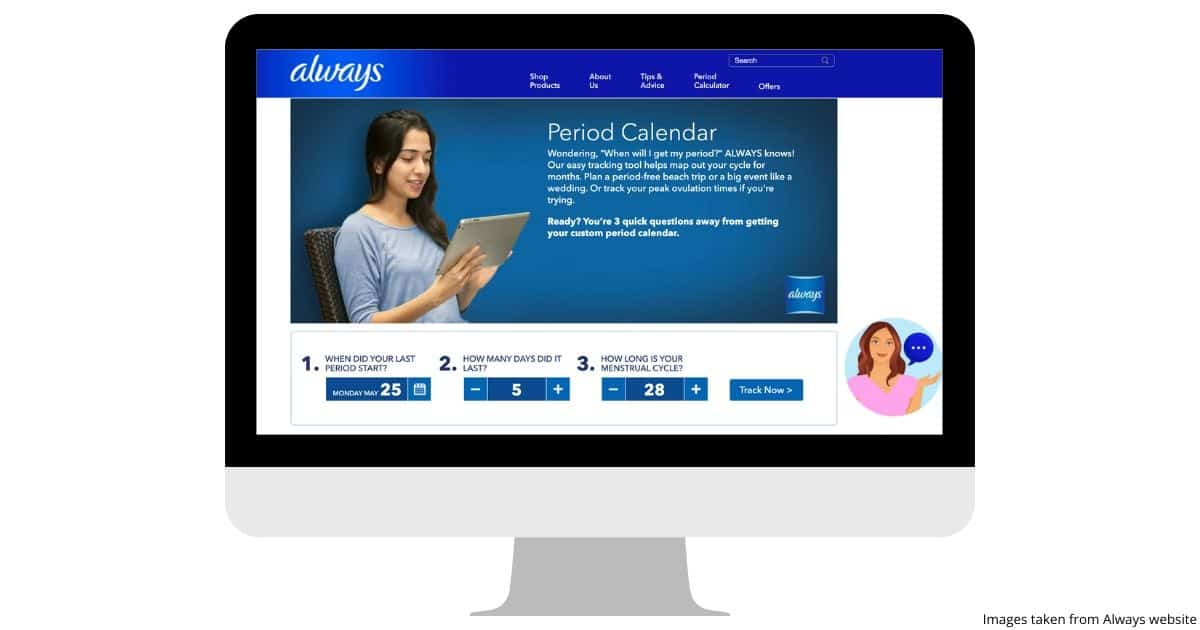 Computer image showing the user experience for the Always period tracker