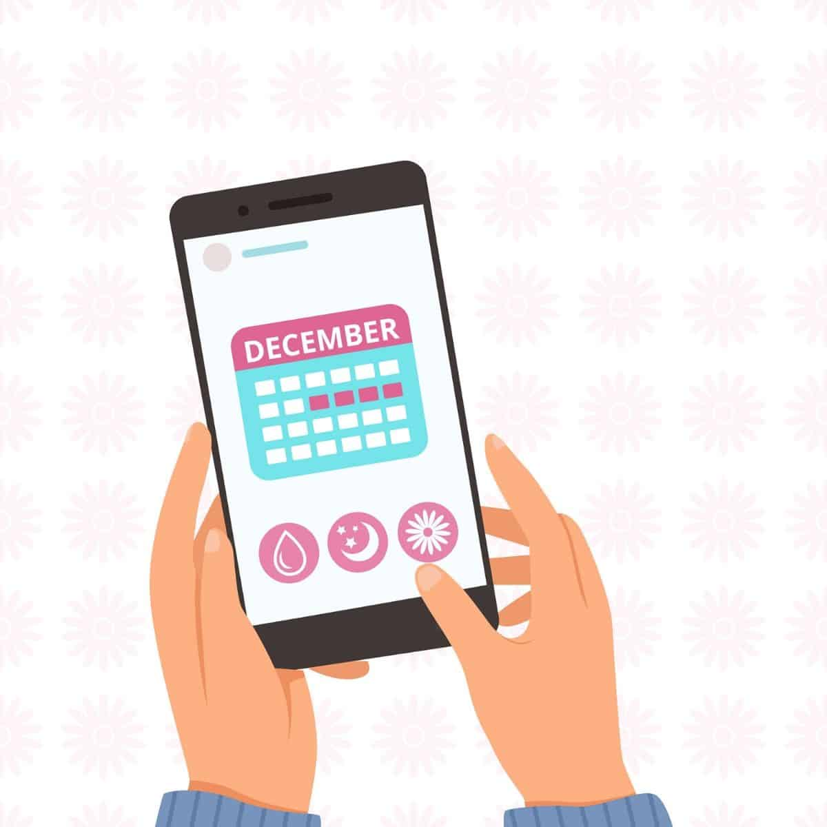 illustration showing hands holding a smartphone with a calendar and icons representing menstrual symptoms