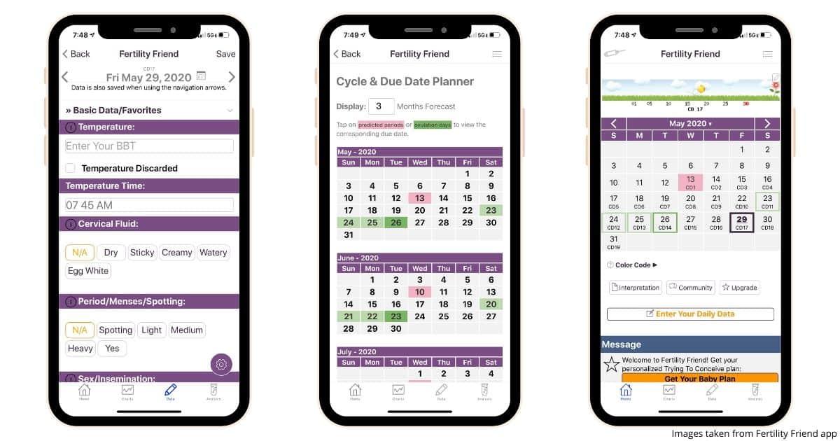 three smartphone screenshots showing what the Fertility Friend app looks like