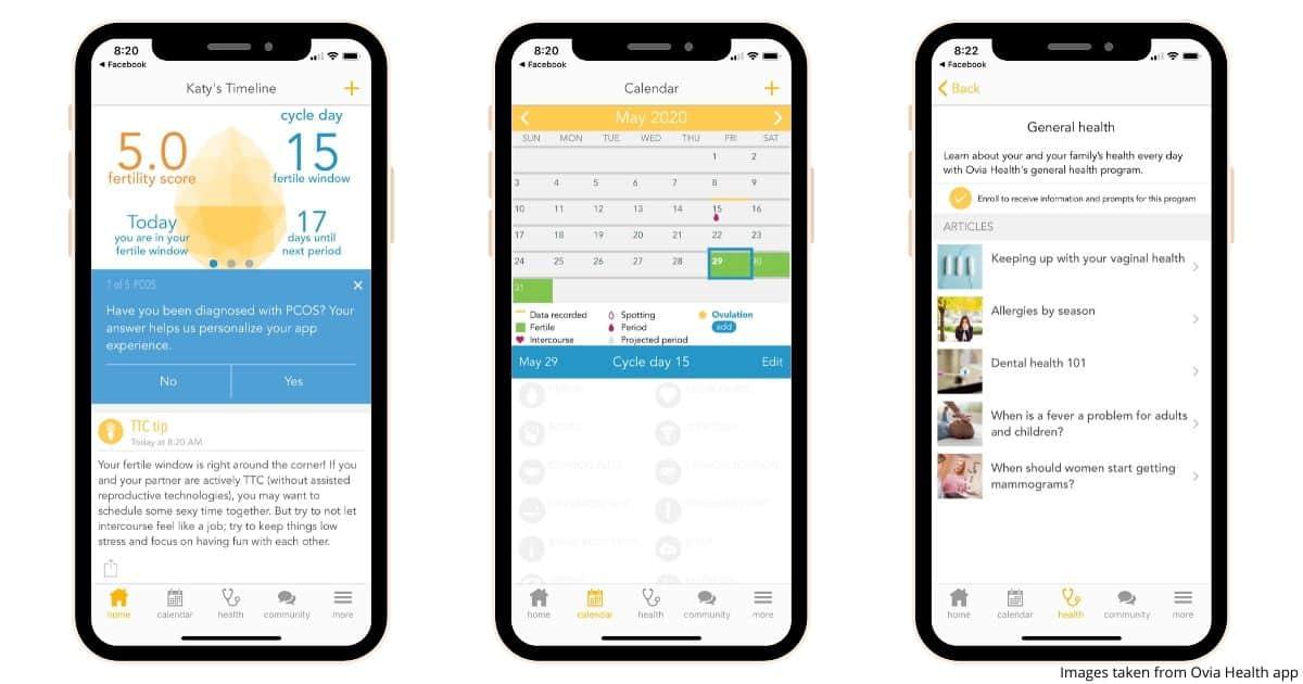 three smartphone screenshots showing what the Ovia Health app looks like