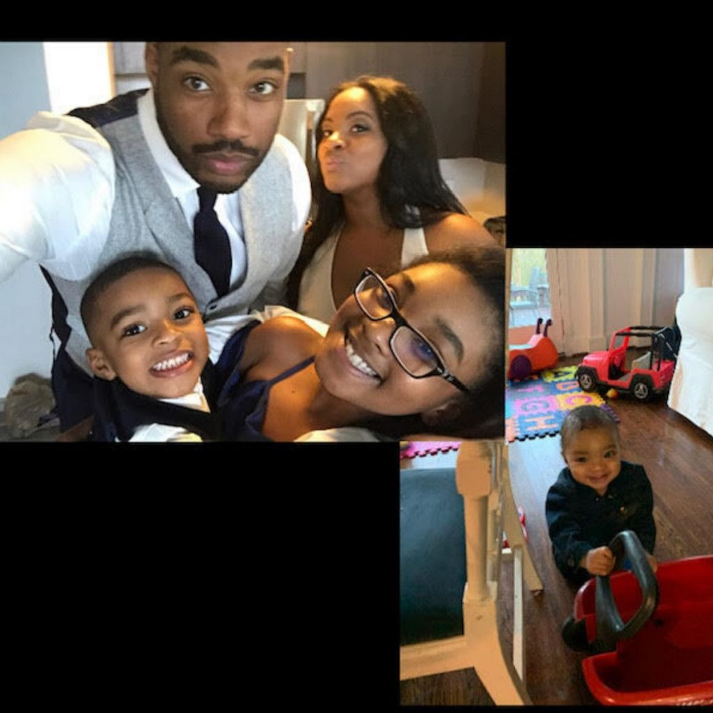 collage of two images, one with Aisha, her husband, and two kids taking a selfie, and the second photo showing Chase playing with a wagon