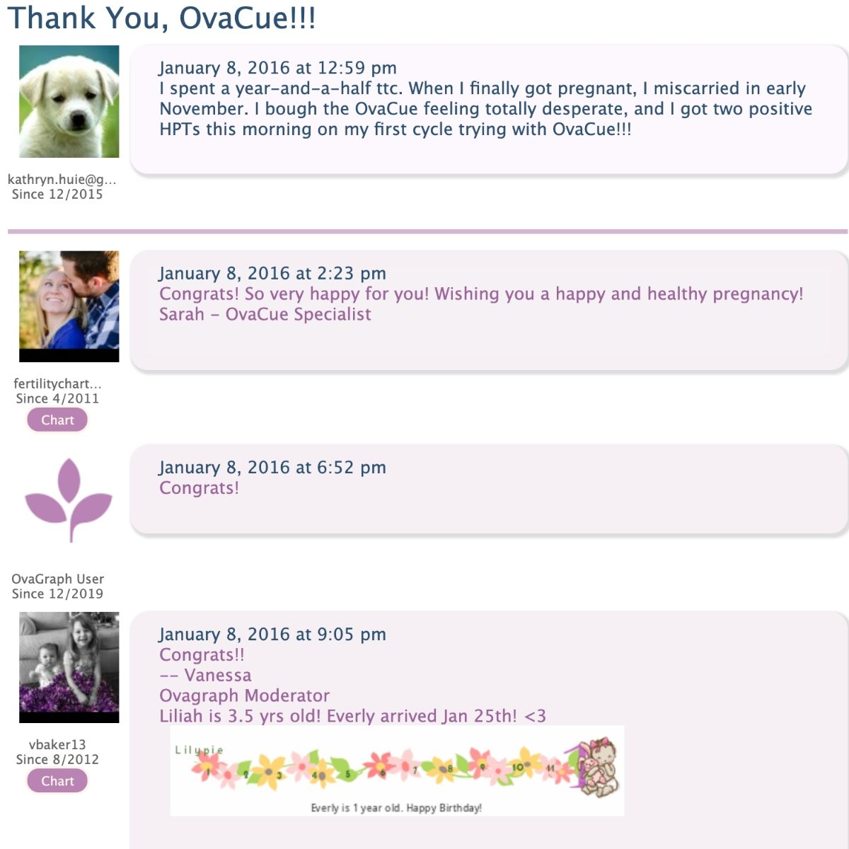 messages on an online forum board talking about OvaCue