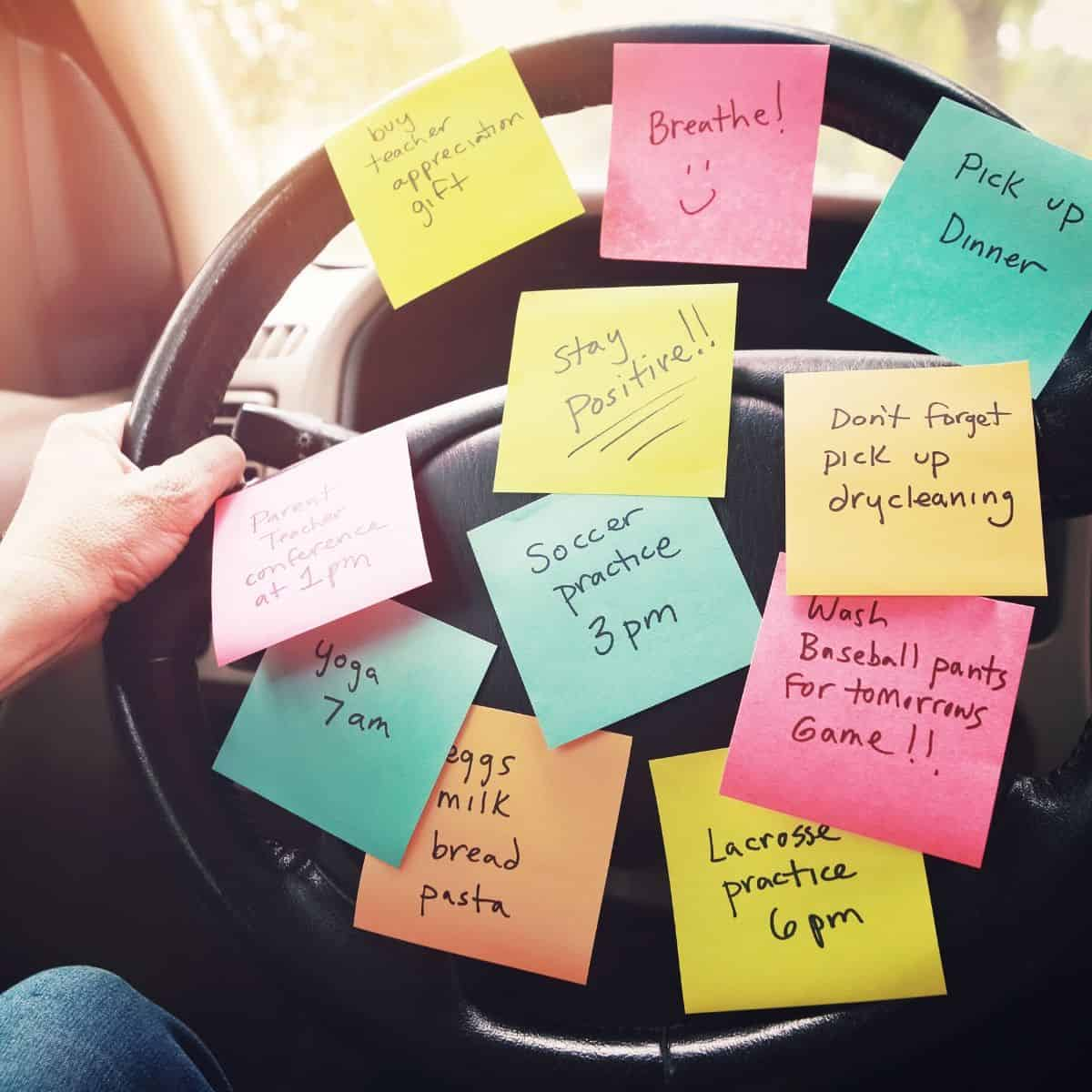 Stirring wheel with sticky notes showing a to-do list and positive notes for mom