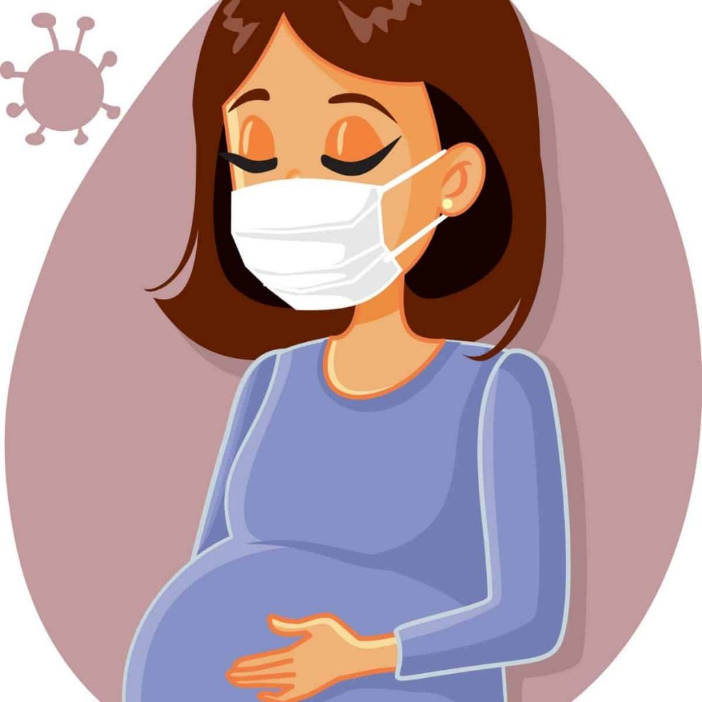 cartoon photo of a pregnant woman wearing a face mask