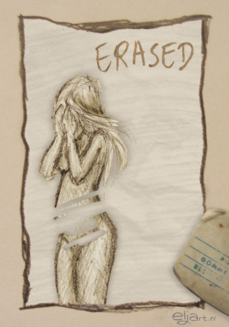 "woman with her eyes over her face and marks across her belly with text that says ""erased"""