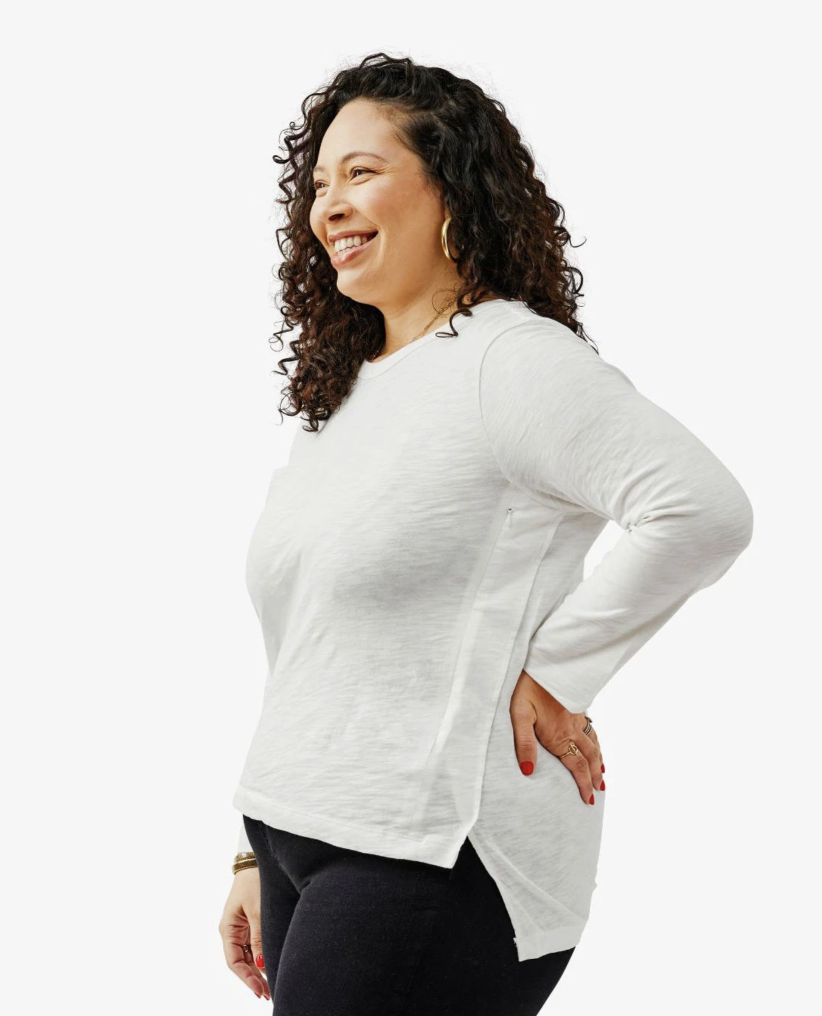 woman wearing a long sleeve white nursing tee shirt