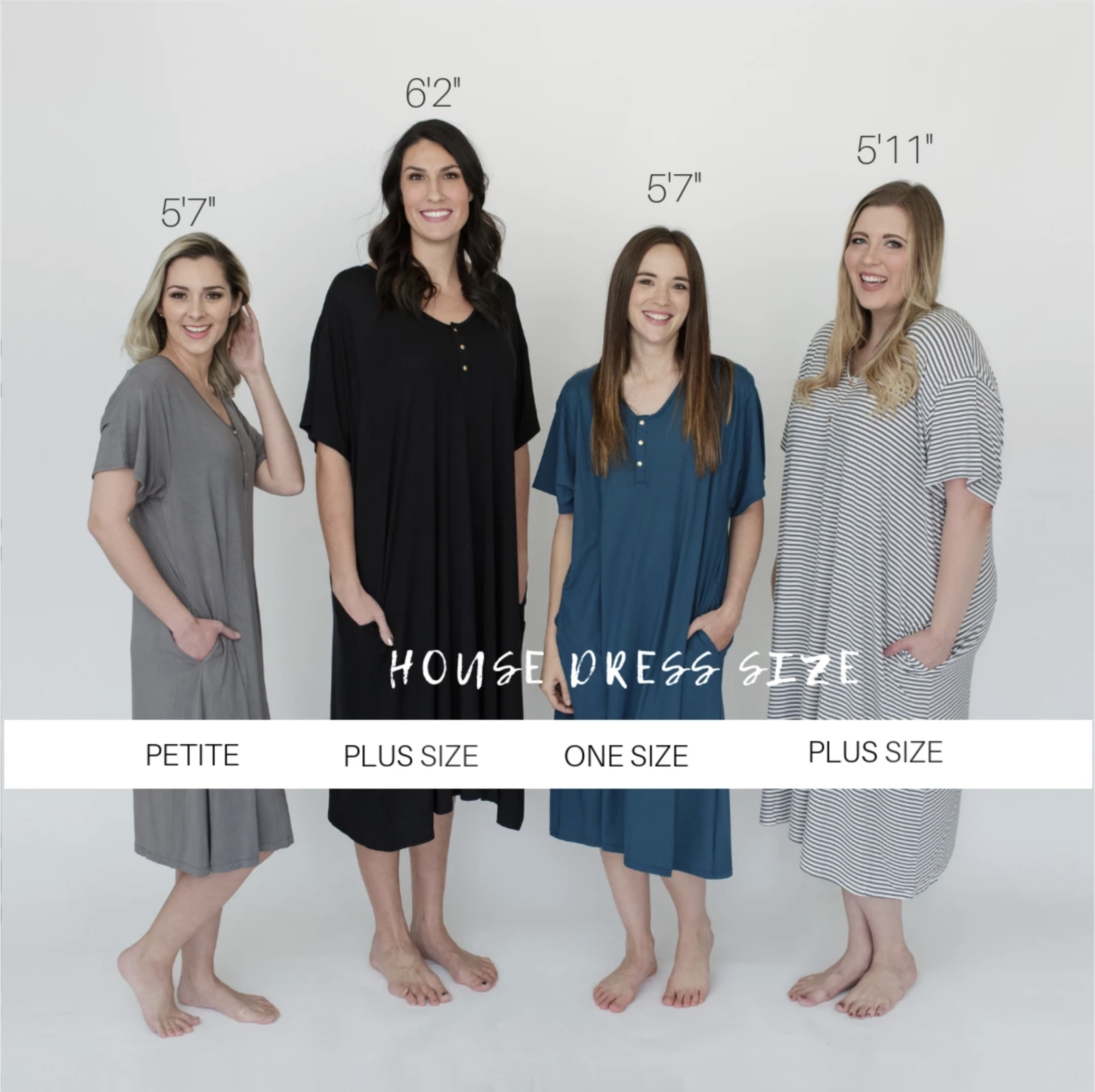 four women wearing different sizes of the undercover mama house dress