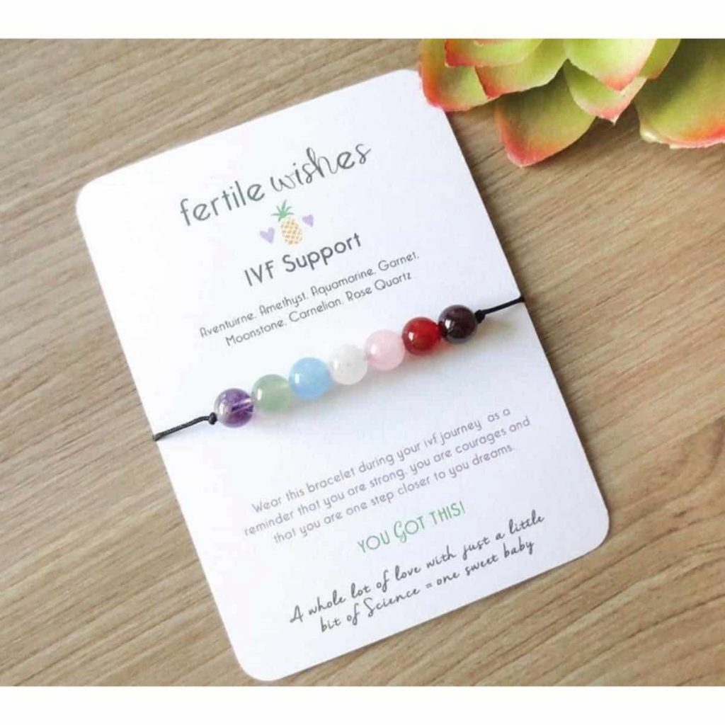 a multi-colored IVF support bracelet