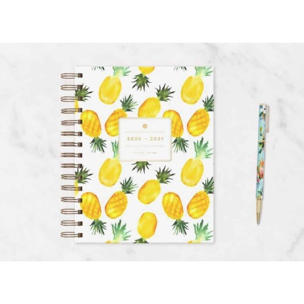 a planner for calendar year 2020 through 2021 that has watercolor pineapples on the cover