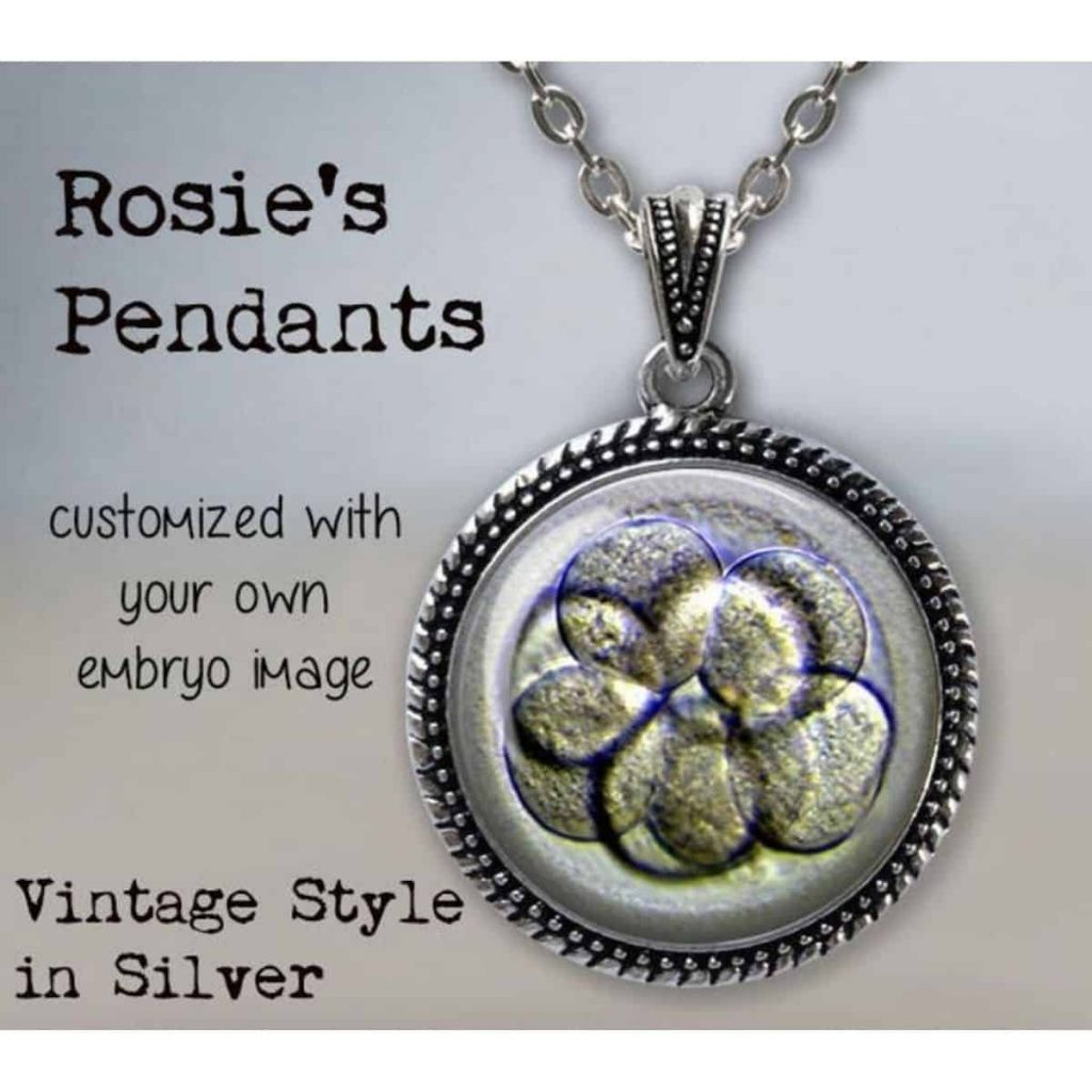 a customizable pendant with an embryo image
