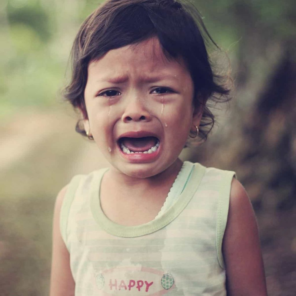 young child is crying and wailing