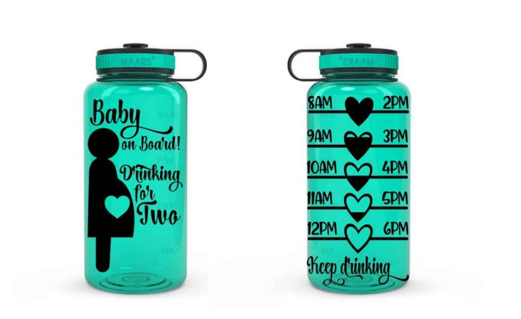 green baby on board pregnancy water bottle with time stamps to help  mom measure her water intake