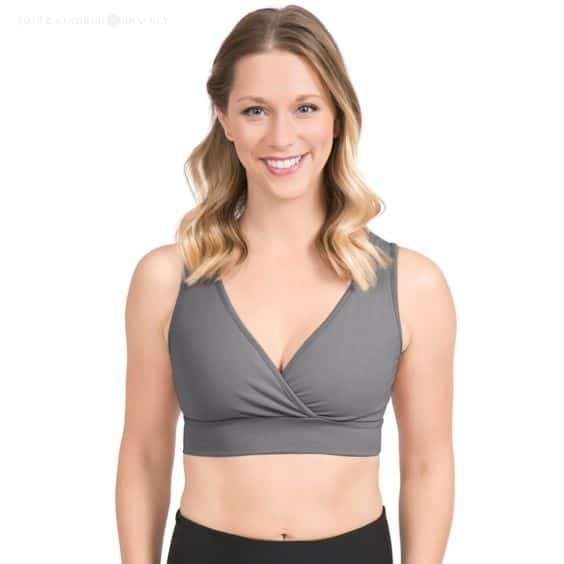 Blonde woman in gray nursing and sleeping bra from Kindred Bravely