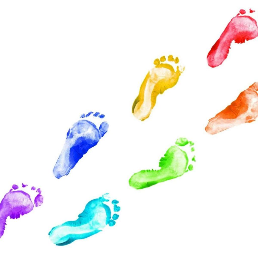 baby footprints in different colors of the rainbow