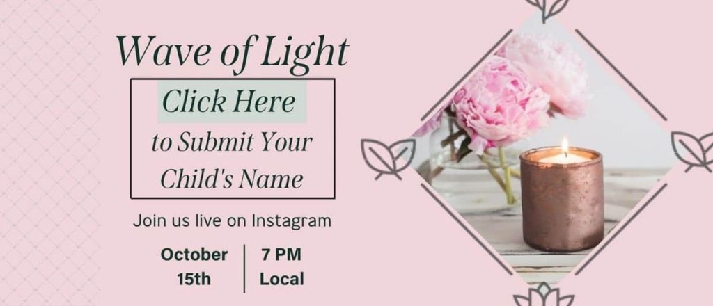 pink graphic with candle and flower that says Wave of Light Click here to submit your child's name