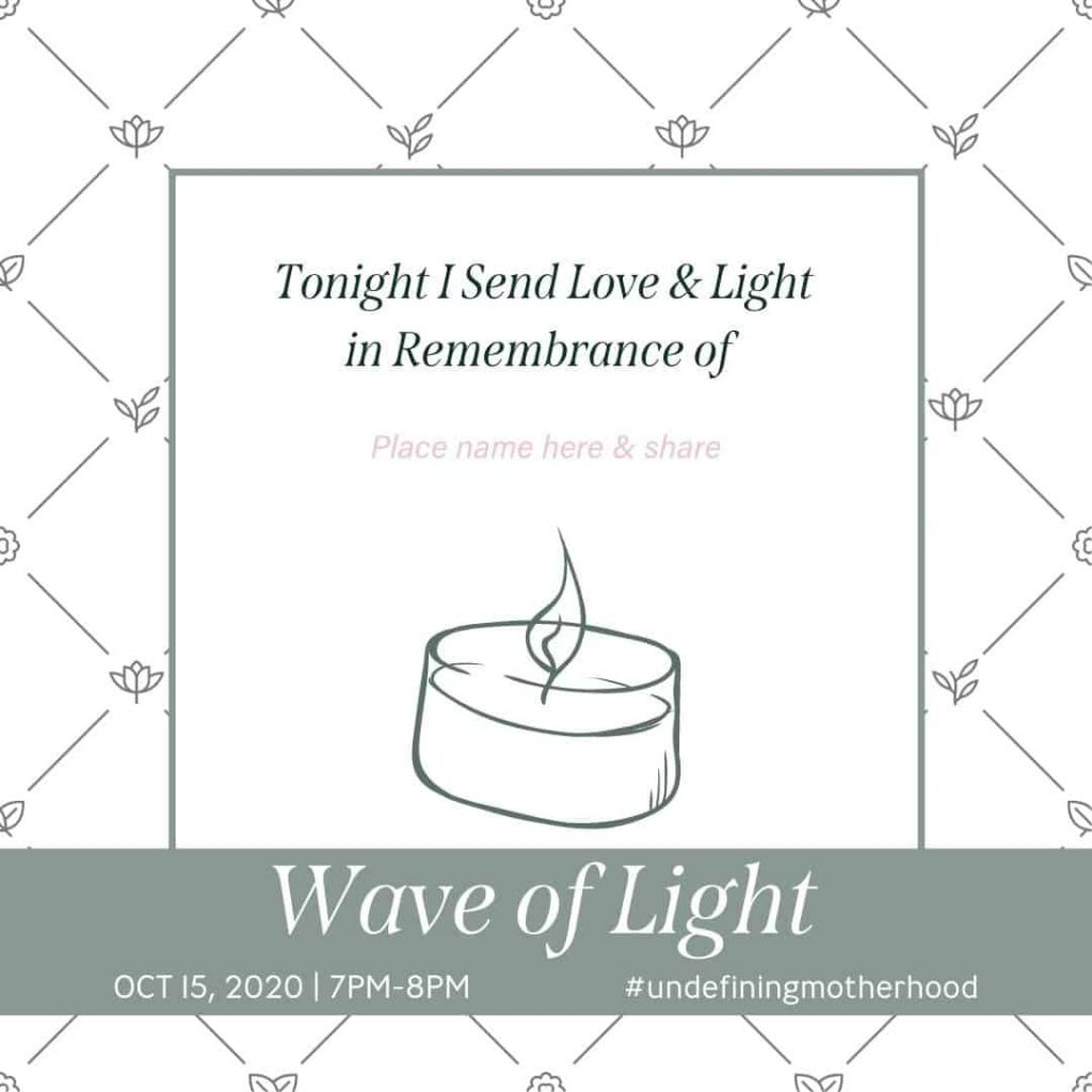 a graphic with a candle that says wave of light and leaves a space for you to put the name of the child you honor during the wave of light 2020