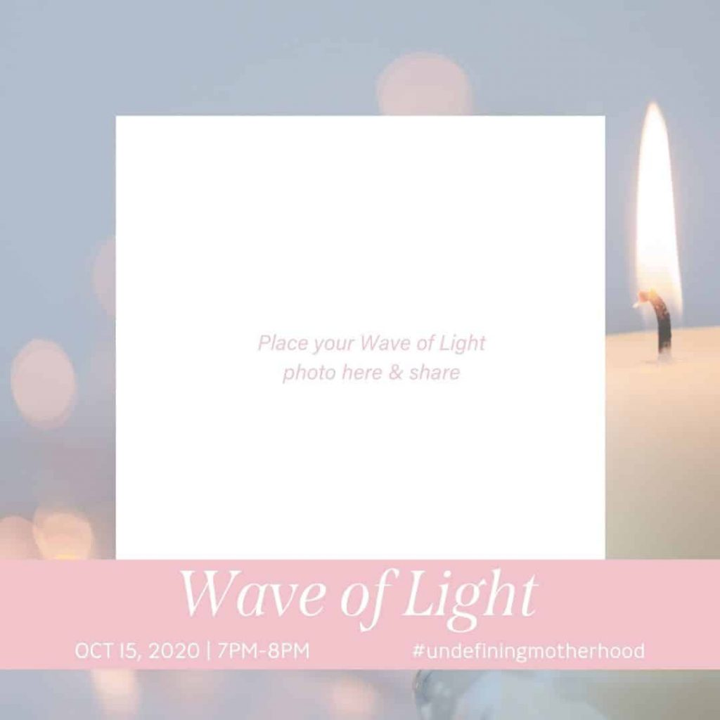 soft blue background with candle flames and a pink banner that leaves a space for you to put a picture of your candle to celebrate the wave of light 2020