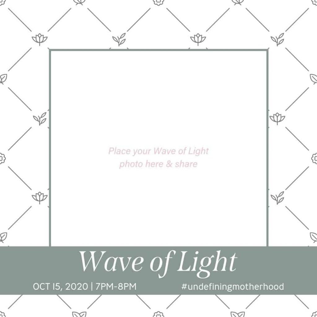 white background with soft green border that says wave of light and provides a space for you to put the photo of your candle