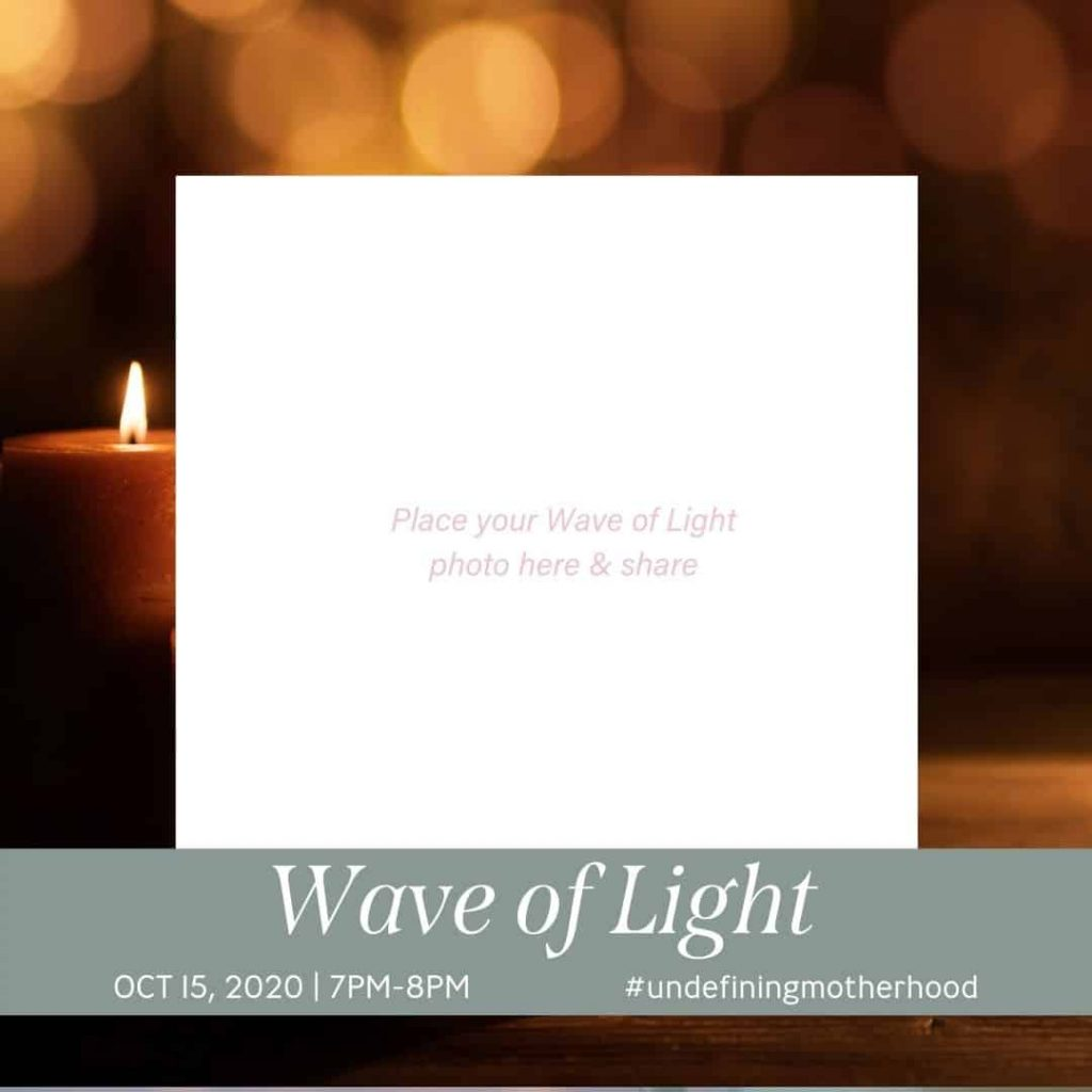 candles in background with space for you to add a photo of the child you honor during the wave of light 2020