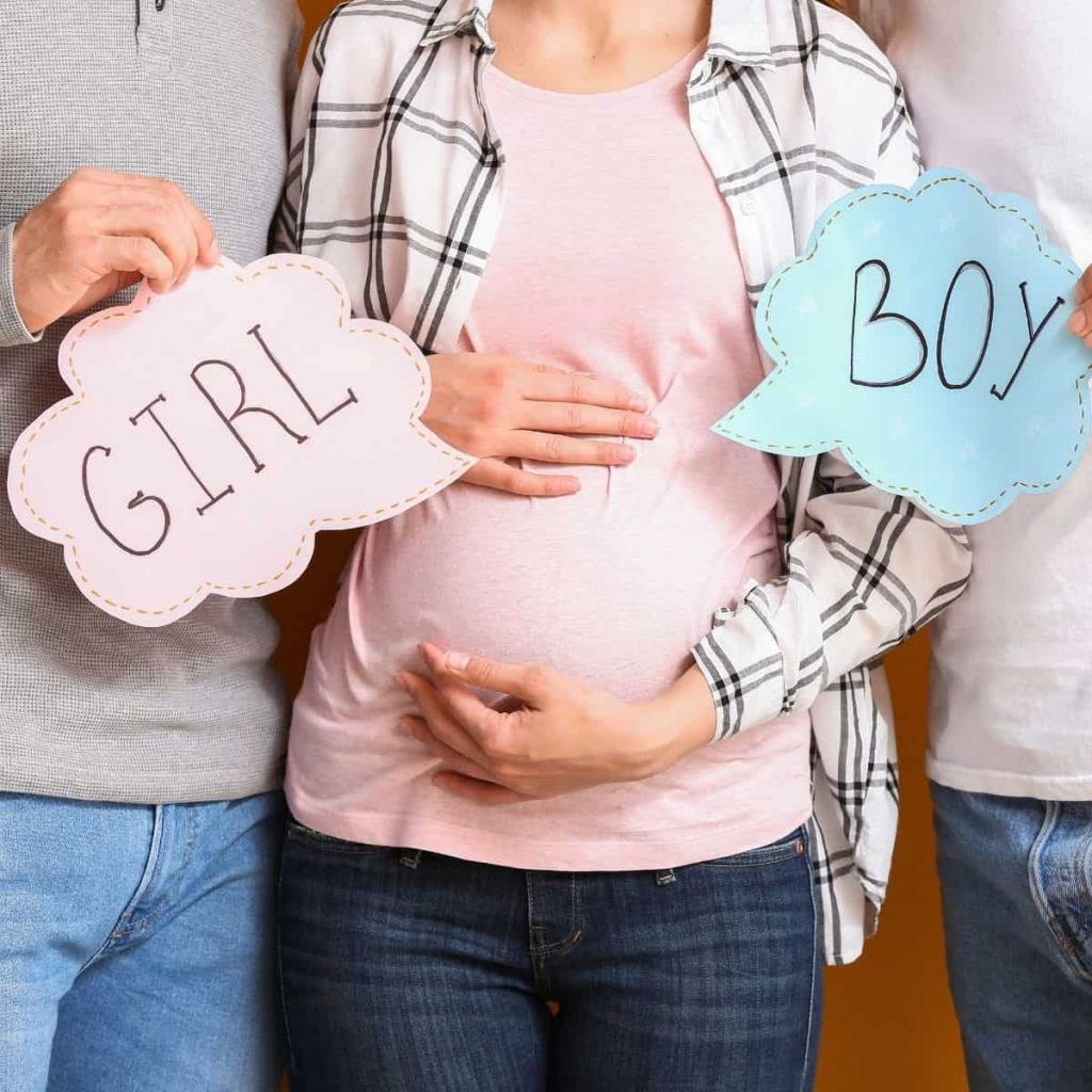 pregnant woman is a surrogate mother for two men, one is holding a girl sign and the other is holding a boy sign