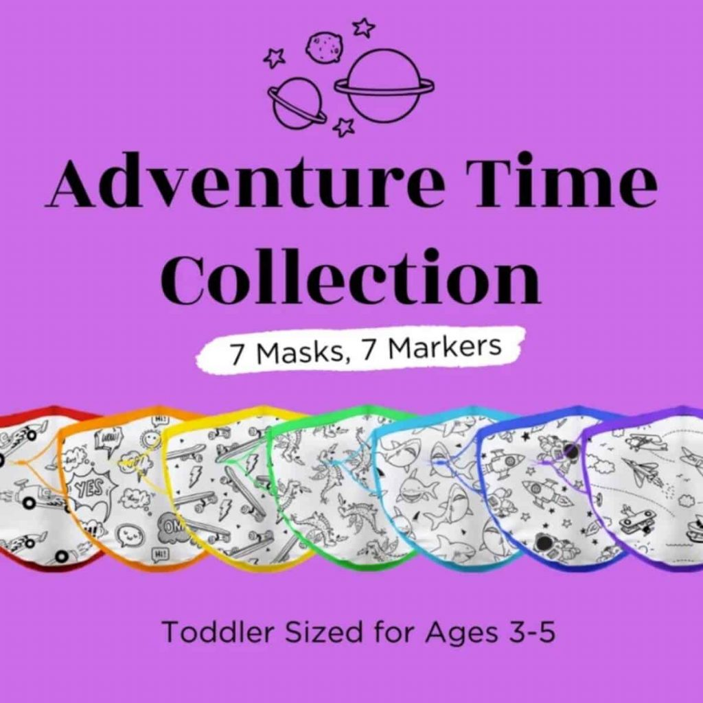 a purple square showing 7 children's masks with colorable graphics