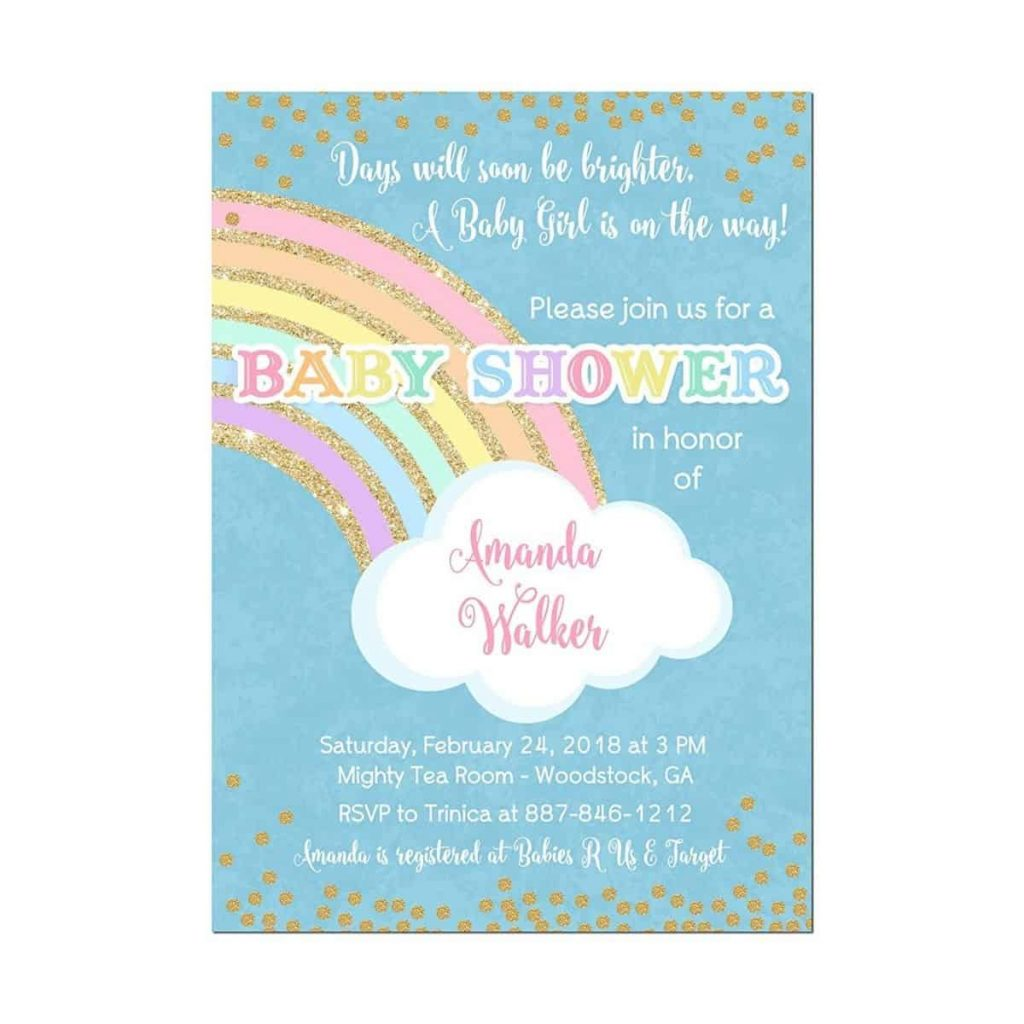 "photo cover of ""days will soon be brighter"" rainbow baby shower invitation"