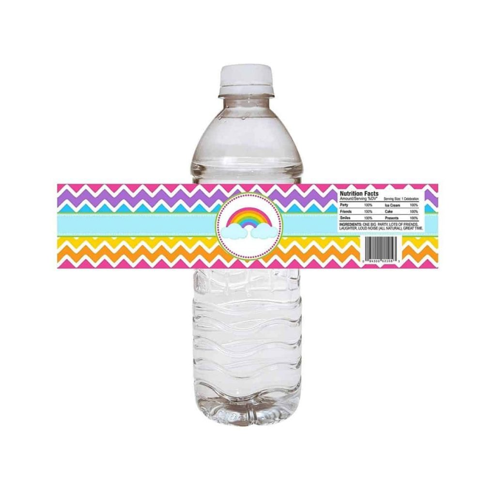 rainbow party water bottle label about to be placed on water bottle