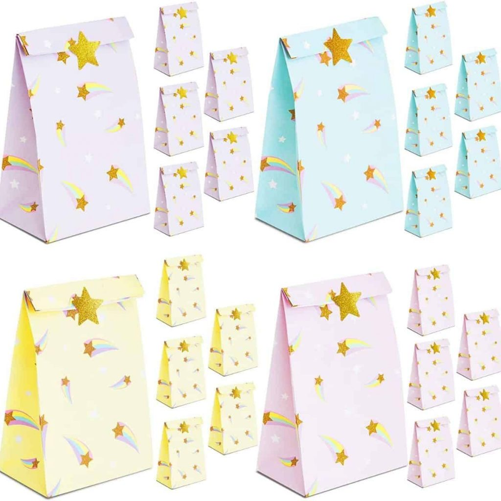 rainbow party favor bags in various rainbow colors with stars across them