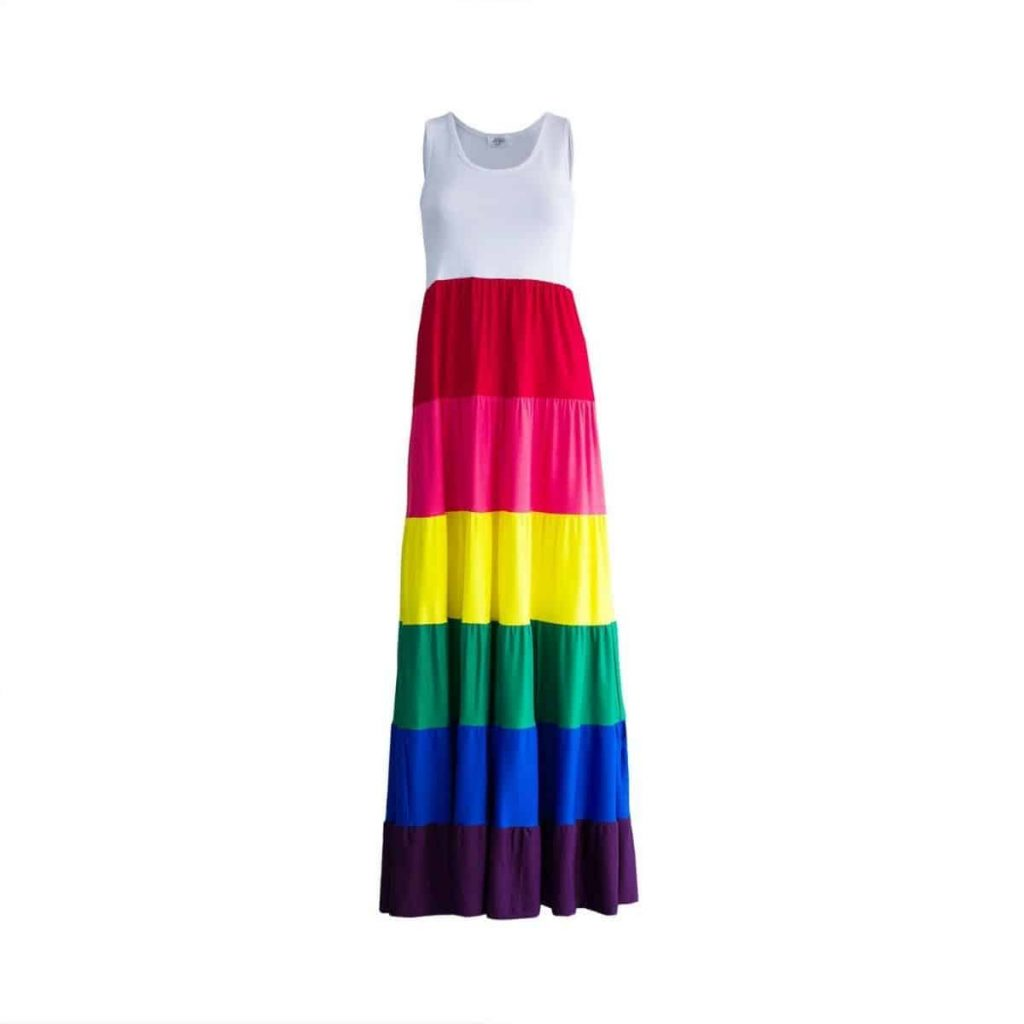 photo of rainbow tiered maxi dress