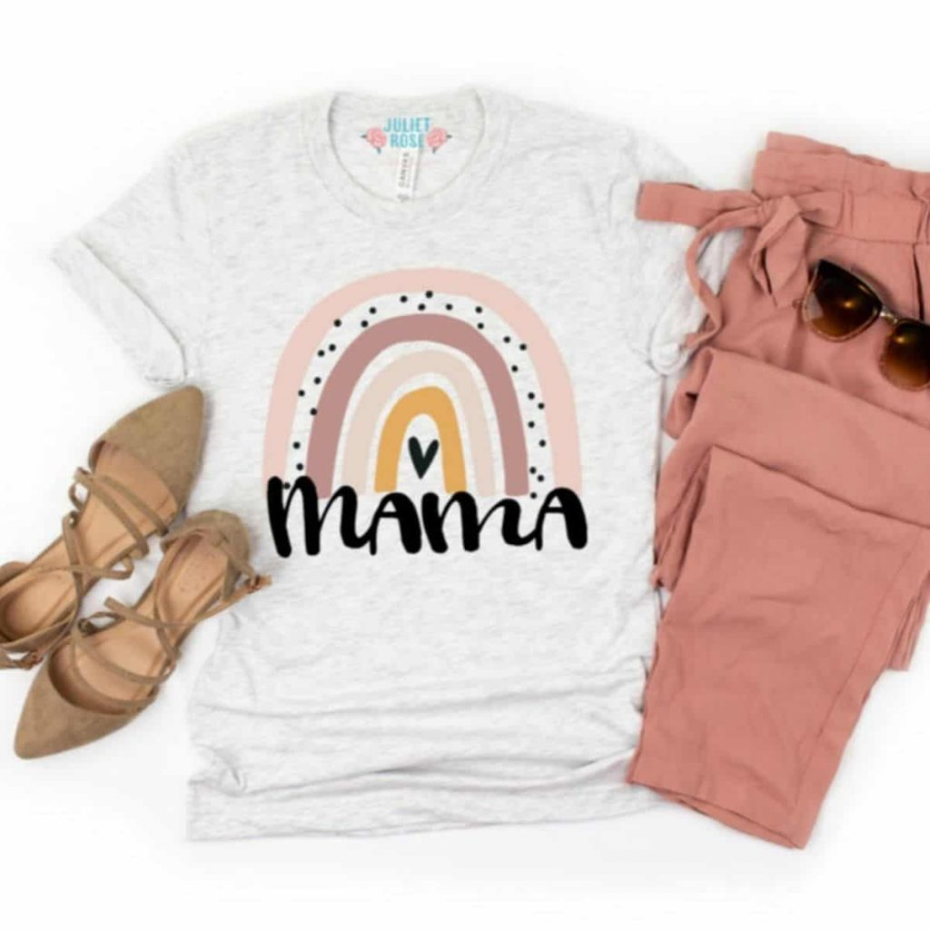 tshirt with rainbow that says mama and the tshirt is styled with shoes, paints, and sunglasses