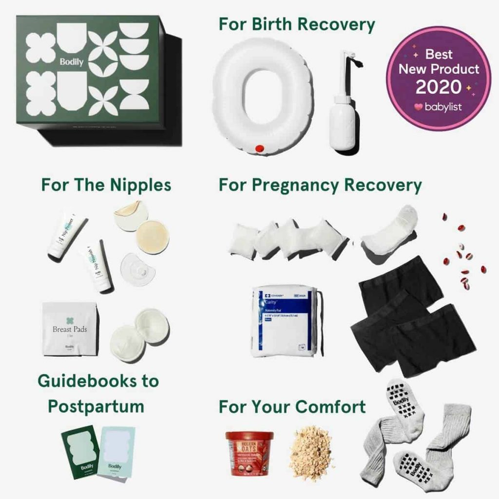 a square image that show all the various postpartum supplies that come in the care for birth box by bodily