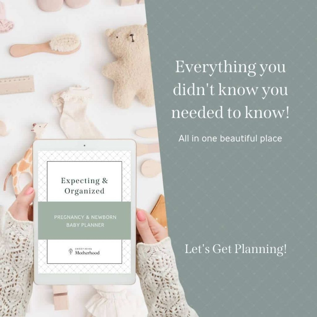 photo of woman's hands holding an ipad that says expecting and organized pregnancy and new baby planner with text on the side that says everything you didn't know you needed to know all in one beautiful place