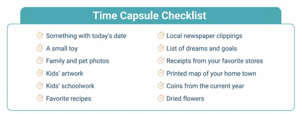 checklist of items to include in a family time capsule