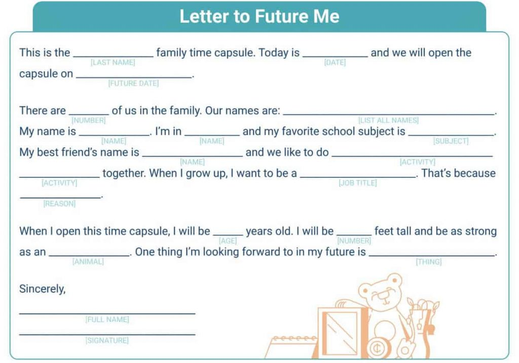 fill-in-the-blank letter template to your future self to include in a family time capsule